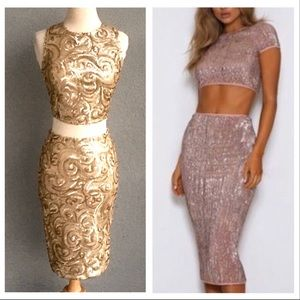 Abyss By Abby Glamorous Gold Sequin Set Size M